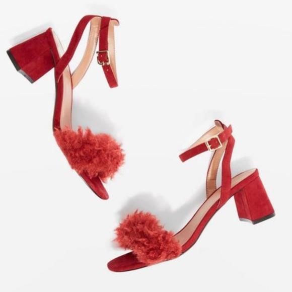 62bd200c70 Topshop Shoes | Doodle Faux Fur Mid Heel Sandals | Poshmark
